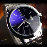 296-S Men Calendar Wrist Watch Fashion Quartz Stainless Steel Back Watch