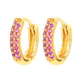 Keiyue Personalized Design Wedding Gift 925 Sterling Silver Copper Zircon CZ Gold Plated Hoop Earrings Jewelry for Women