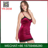 Wholesale Skin Pleuche Lady Slip Dress with Lace Manufacturer