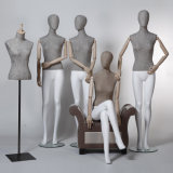 High Grade Linen Wrapped Female Mannequin with Wooden Arms