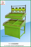 High Quality Metal Double Deck Fruit and Vegetable Shelf