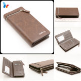 Fashion Leather Card Wallet Women Passport Long Wallet with Zipper
