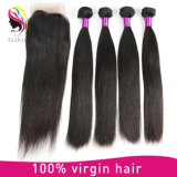 Brazilian Hair Weave Straight Human Hair Extensions with Closure