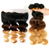 Brazilian Body Wave #1b/4/27 Human Hair Weave Ombre Bundles with Closure