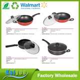 Wholesale Different Size Carbon Steel Non-Stick Wok Pan with Glass Lid