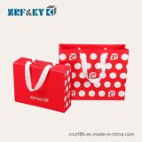Wholesale Customized Recyclable Gift Shopping Carrier Wedding Packaging Red Art/Kraft/ Coated Paper Bags with Ribbon Handles
