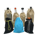Custom Velvet Cotton Canvas Jute Bag Liquor Spirits Wine Bottle Bag Promotional Drawstring Fabric Cloth Bag