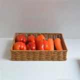 Plastic Rattan Woven Baksets for Organization and Food Storage