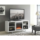 "Modern Electronic Fireplace TV Stand with Cylindrical Legs for Sizes up to 75"", Modern Design Cabinet for Your Audio/Video Components"