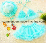 Girl's Lace Pleated Skirt Swimming Suit, Lace Lovely Swimming Wear S