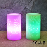 Carved Pillar Straight Edge Battery Operated LED Wax Candle Light (Set of 3)