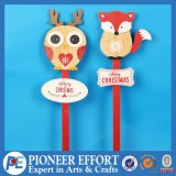 Wooden Fox and Owl Design for Christmas Stick