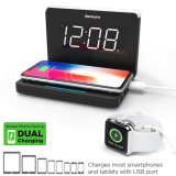 Compact Digital Alarm Clock with LED Night Light USB Port Qi Wireless Charging for iPhone 12 11 Xr Xs X 8 Galaxy S20 Z Flip Fold S10 S9 S8 Note 10, 9