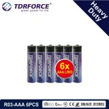 1.5V China Manufacture Heavy Duty Battery for Smoke Detetor (R03-AAA 6PCS)
