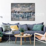 Impressive City Above Water Landscape Oil Painting