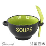 17oz Soup Mug Two Tone Glaze with Two Handles and Spoon