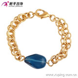 Fashion Elegant Women Gold -Plated Jewelry Bracelet with Big Blue Gemstone in Alloy Copper --74192