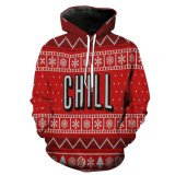 Chirstmas Red Fleece Long Sleeve Men Jacket Coat Garment Clothes Hoody