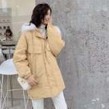 High Quality White Duck Feather Down Jacket Coat / Lady Real Fox Fur Collar Double Face Silver Winter Women Duck Down Jacket
