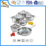 Mirror Polished Stainless Steel Cookware Set with Glass Lid (CX-SS1204)
