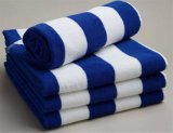 Hot Sell White and Blue Cotton Stripe Custom Beach Towel