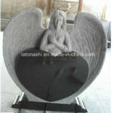 Carving Marble Angel Tombstone Slab