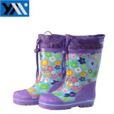 Purple Flower Print Textile Collar Children Waterproof Natural Rubber Rainboots High Quality Wellingtons New Design Wellies Cutshoes for Kids Footwear with Lace