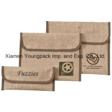 Promotional Custom Printed Velcro Jute Burlap Case A4 Business Document Folders