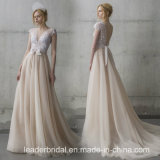 Sleeveless Bridal Formal Gowns V-Neck Lace Wedding Dress Lb1927