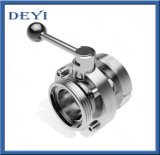 Dn100 Sanitation Sanitary Stainless Steel Grade Male-Female Thread-Union Butterfly Valves