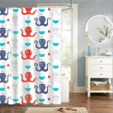 Mold & Mildew Resistant Printed Fabric Shower Curtain with Octopus Design
