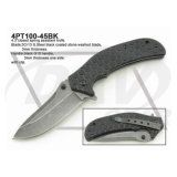 "4.5""Closed Black Handle Tactical Fixed Blade Knife: 4PT115-45bk"