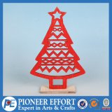 Wooden Red Mini-Tree with Star Topper for Top Table Decor