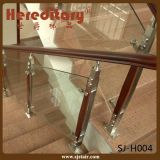 Indoor SUS304 and Wood 316 Glass Stair Railing (SJ-H004)