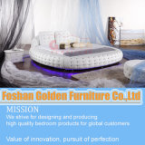 Luxury Round Bed with Crystal and LED Light