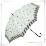 Automatic Cheap Printed Pongee Promotional Straight Umbrella for Promotion