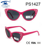 Cat Shape Diamond Decorate Children Kid Plastic Sunglasses (PS1427)