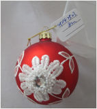 Cheap Christmas Glass Crafts with White Flower