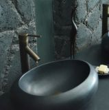 Bathroom Oval Natural Stone Black Granite Vessel Sink