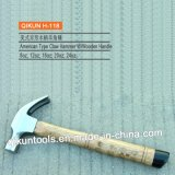 H-118 Construction Hardware Hand Tools American Type Claw Hammer with Painted Finger Mark Wooden Handle