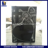 High Quality Black with Laser Engraving Granite Headstones