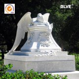 Hand Carved New Design Marble White Pure Angle Statue Tombstone for Sale