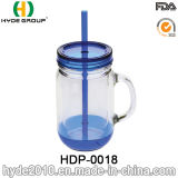 China Wholesale Doubel Wall Plastic Mason Jar with Handle (HDP-0018)