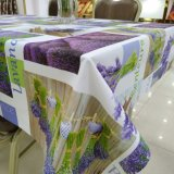 Lavender Flowers Transfer Printing Polyester Fabric PVC Tablecloth 1.4m * 20m