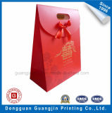 Red Color Printing Paper Gift Bag with Golden Logo
