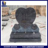 Bespoke Hand Carved Heart Shape Memorials Blue Granite Tombstone