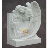 China Custom Made Hand Carved Natural White Marble Tombstone with Angel Statue
