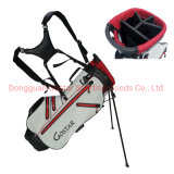 Classic White & Red Waterproof Nylon Golf Stand Bag with 5-Way Divider and 6 Waterproof Zipper Pockets