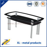 Tempered Glass with Power Coated Arc Tube Coffee Table