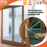 High Praised Aluminum Clading Solid Wood Lift Sliding Door, Double Glass Sliding Door Irregular Divided Light Grille
